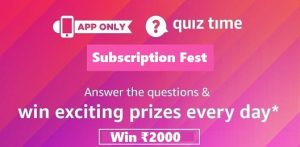 Amazon Subscription Fest Quiz Answers
