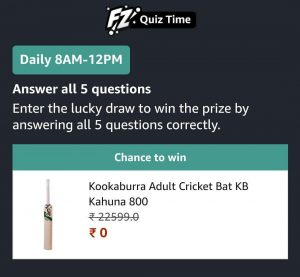 Amazon Kookaburra cricket bat Quiz Answers