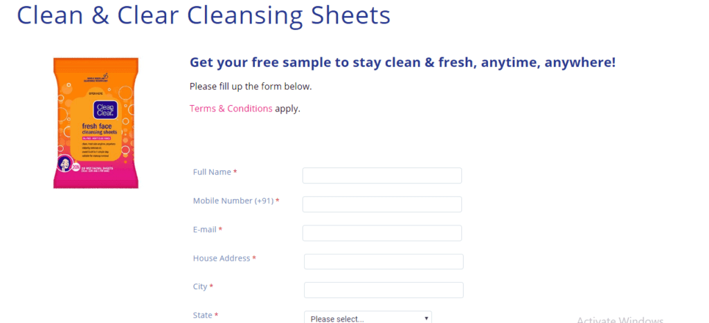 free Clean & Clear Cleansing Sheets
