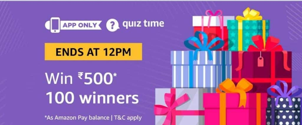 28th January) Today Amazon in Quiz Answer- Win Free Rs 500
