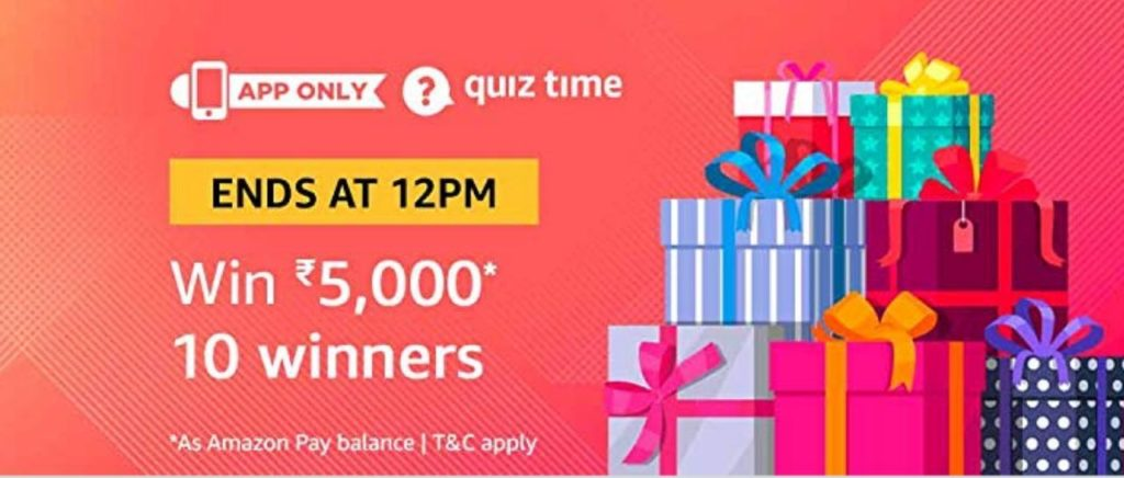 Amazon Quiz 4 February 2019 Answers – Rs.5000 Balance