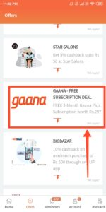 freecharge gaana+  offer