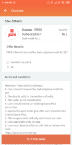 buy gaana+  offer from free charge