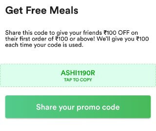 zomato refer and earn free meal