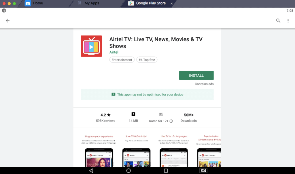 how to install airtel tv app in pc